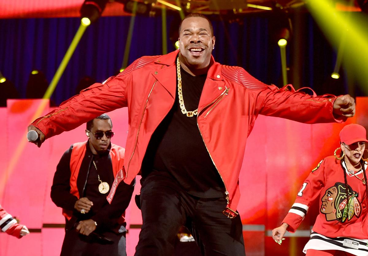 Busta Rhymes performing with Diddy at the 2015 iHeartMusic Music Festival