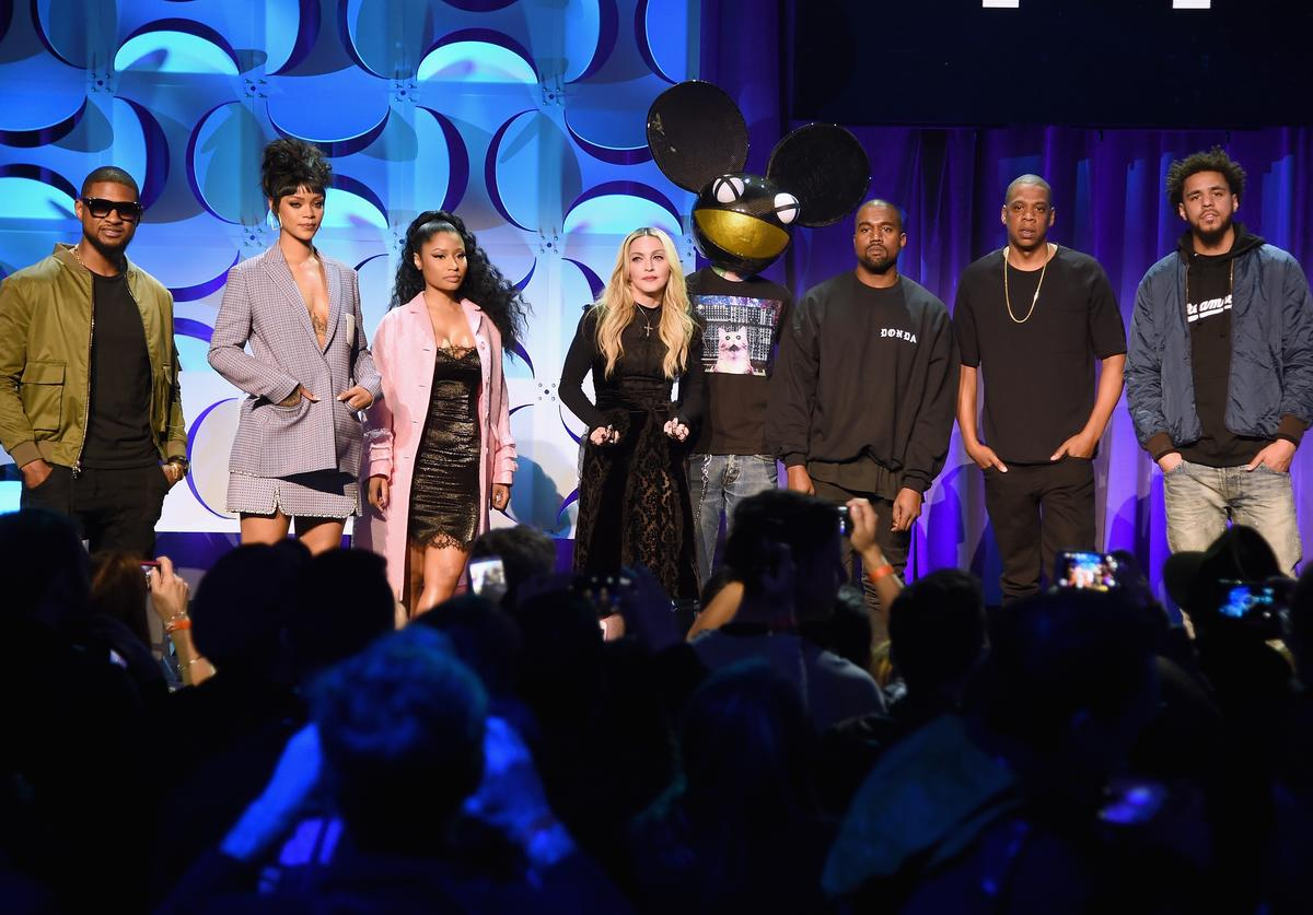 Usher, Rihanna, Nicki Minaj, Madonna, Deadmau5, Kanye West, JAY Z, and J. Cole onstage at the Tidal launch event #TIDALforALL at Skylight at Moynihan Station on March 30, 2015 in New York Cit