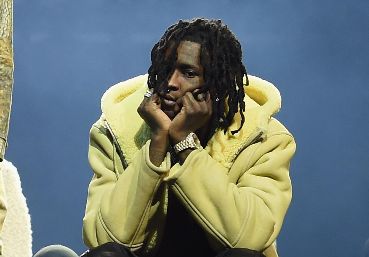 Young Thug modeling at Yeezy 3 show at MSG