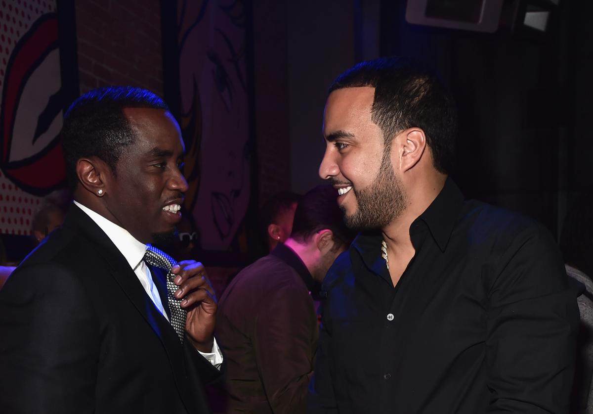 an 'Diddy' Combs (L) and actor/rapper French Montana attend the premiere of Lionsgate's 'The Perfect Match' attend the after party for the premiere of Lionsgate's 'The Perfect Match' at ArcLight Hollywood o March 7, 2016 in Hollywood, California.