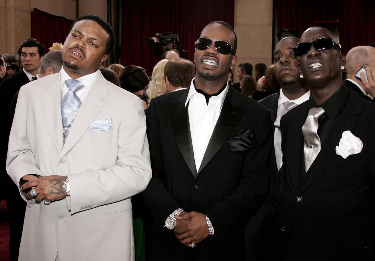 DJ Paul, Juicy J, Project Pat and Crunchy Black from Three 6 Mafia arrive at the 78th Annual Academy Awards at the Kodak Theatre on March 5, 2006 in Hollywood, California.