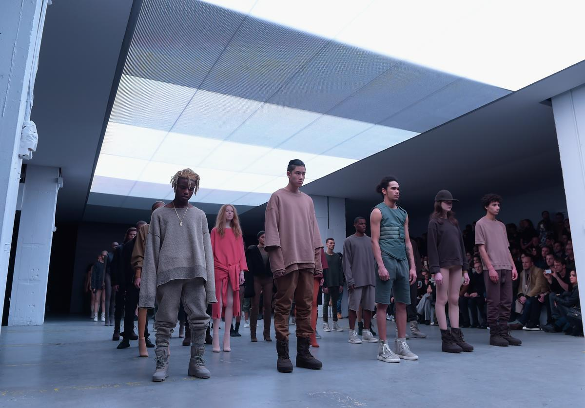 Models on the runway at the adidas Originals x Kanye West YEEZY SEASON 1 fashion show during New York Fashion Week Fall 2015 at Skylight Clarkson Sq on February 12, 2015 in New York City.