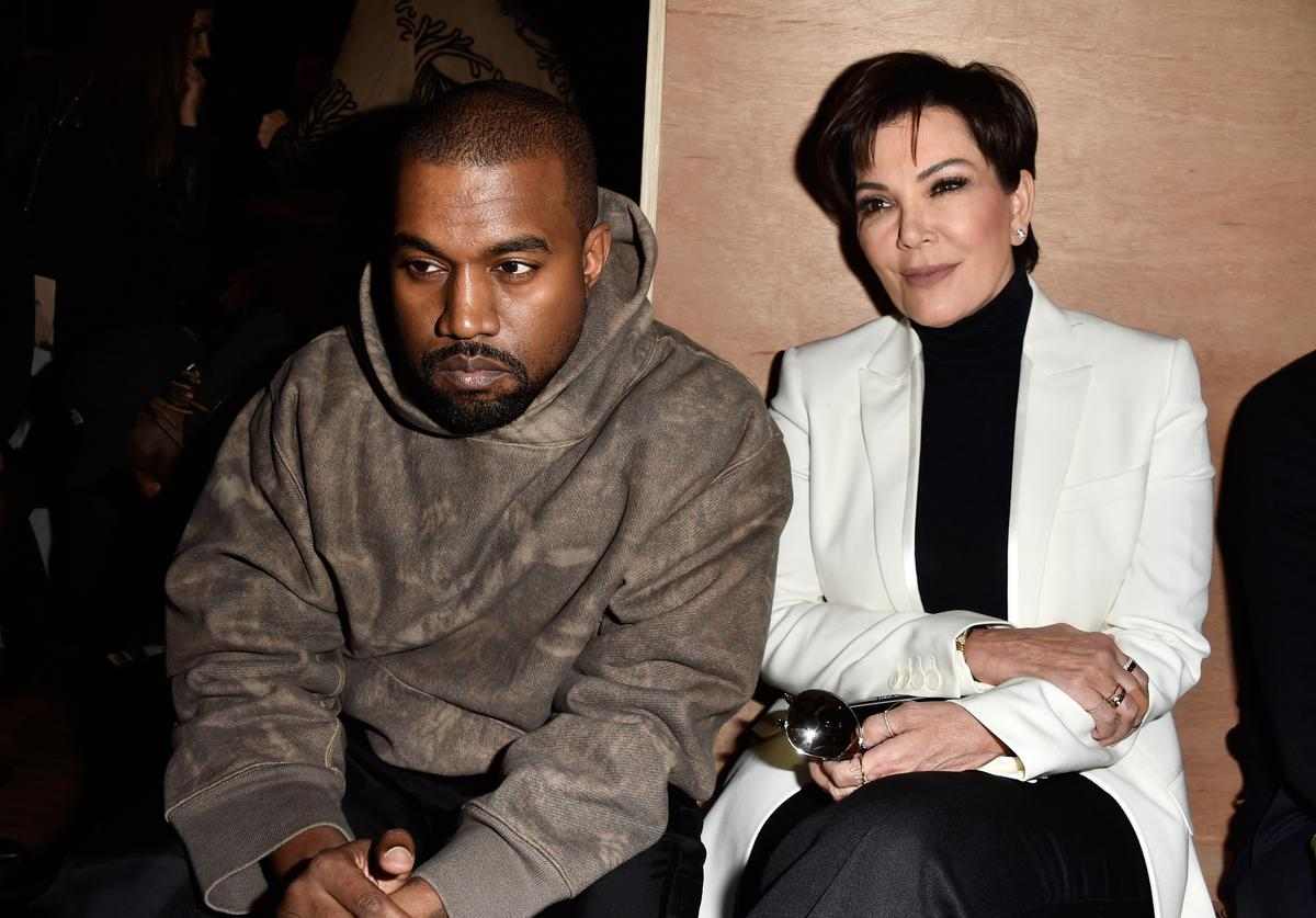 Kanye West and Kris Genner at Givenchy show