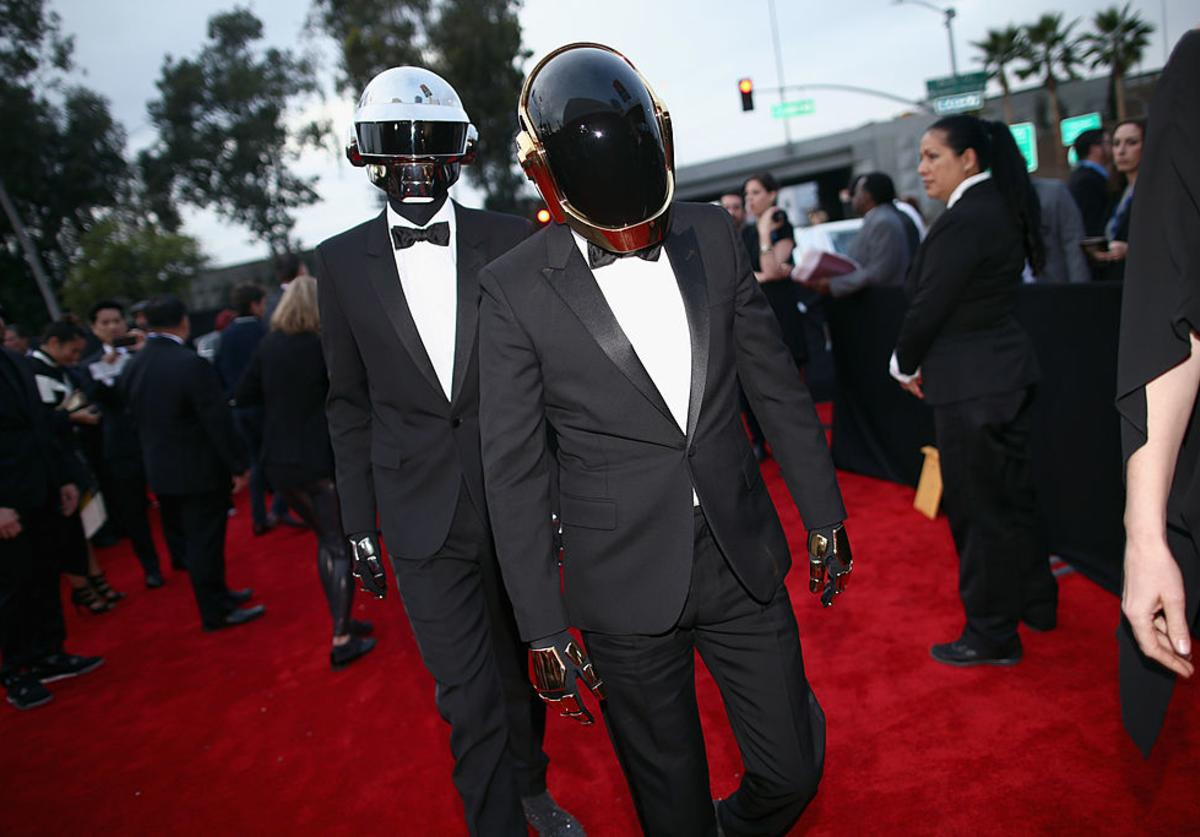 Recording artists Daft Punk attend the 56th GRAMMY Awards at Staples Center on January 26, 2014 in Los Angeles, California.
