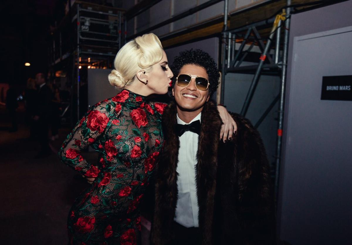 Lady Gaga at the Victoria's Secret Fashion Show with Bruno Mars.