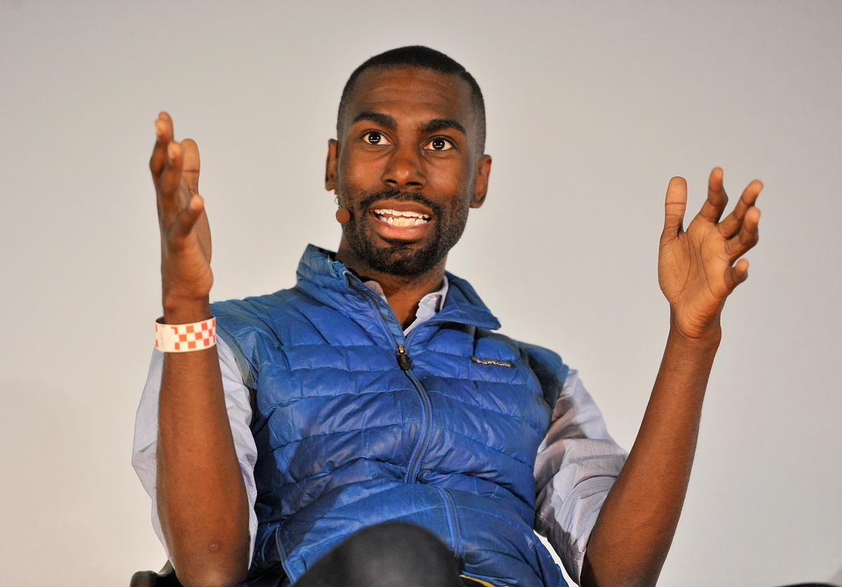 DeRay talking on stage