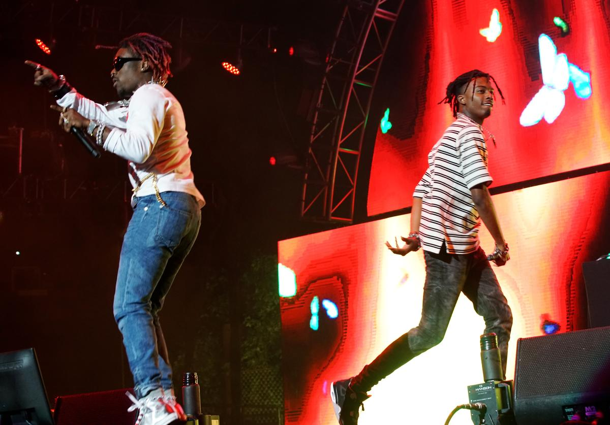 Recording artists Lil Uzi Vert (L) and Playboi Carti perform at night one of the 2017 BET Experience STAPLES Center Concert, sponsored by Hulu, at Staples Center on June 22, 2017