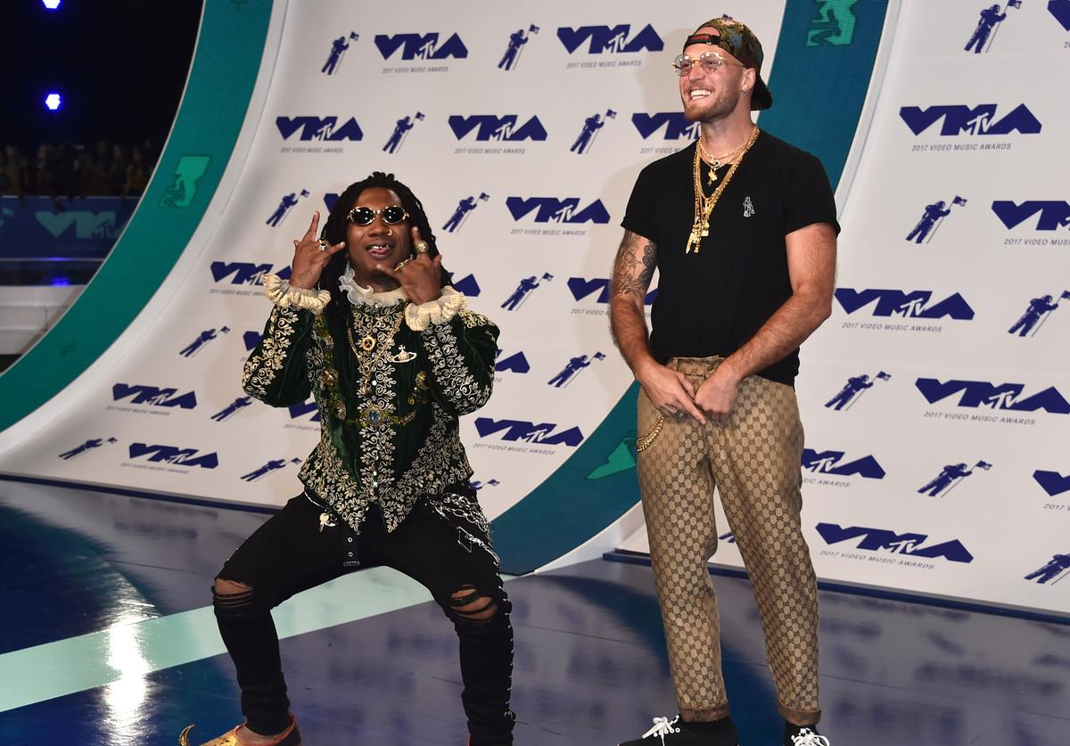 Lil B (L) and guest attend the 2017 MTV Video Music Awards at The Forum on August 27, 2017 in Inglewood, California