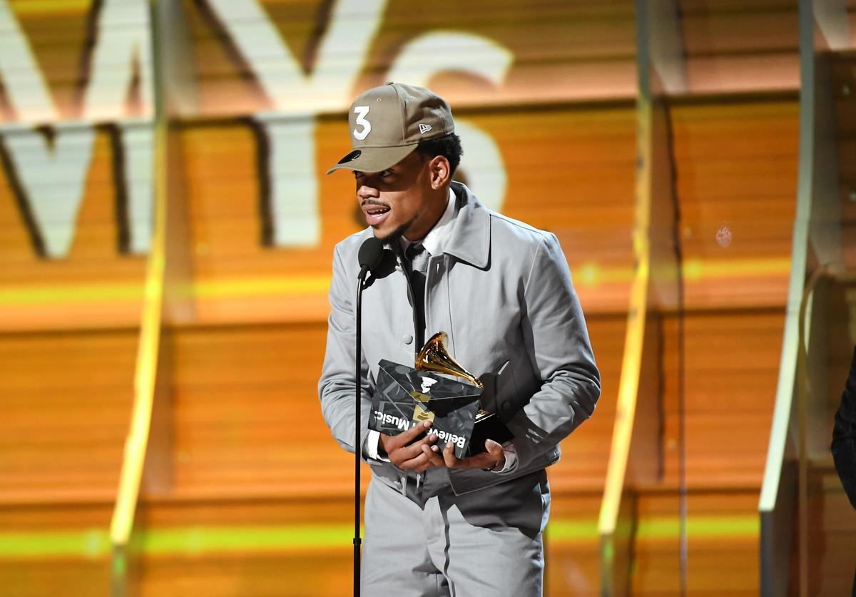 Recording artist Chance the Rapper accepts the award for Best New Artist, onstage during The 59th GRAMMY Awards at STAPLES Center on February 12, 2017 in Los Angeles