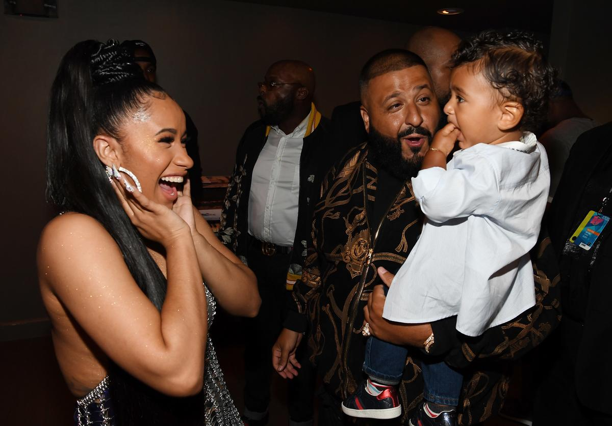 Cardi B, DJ Khaled and Asahd Khaled attend the BET Hip Hop Awards 2017 at The Fillmore Miami Beach at the Jackie Gleason Theater on October 6, 2017 in Miami Beach, Florida. (Photo by Paras Griffin/Getty Images for BET)