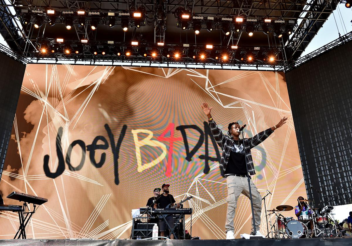Recording artist Joey Bada$$ performs onstage during day 1 of the 2016 Coachella Valley Music & Arts Festival Weekend 2 at the Empire Polo Club on April 22, 2016 in Indio, California