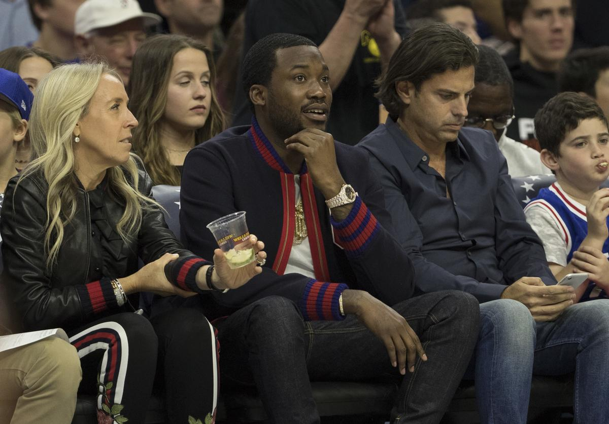 Meek Mill at Boston x 76ers game