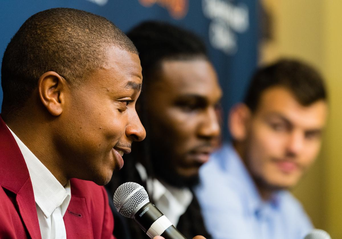 Cleveland Cavaliers players Isaiah Thomas, Jae Crowder & Ante Zizic answer questions during their introductory press conference at Cleveland Clinic Courts on September 7, 2017 in Independence, Ohio