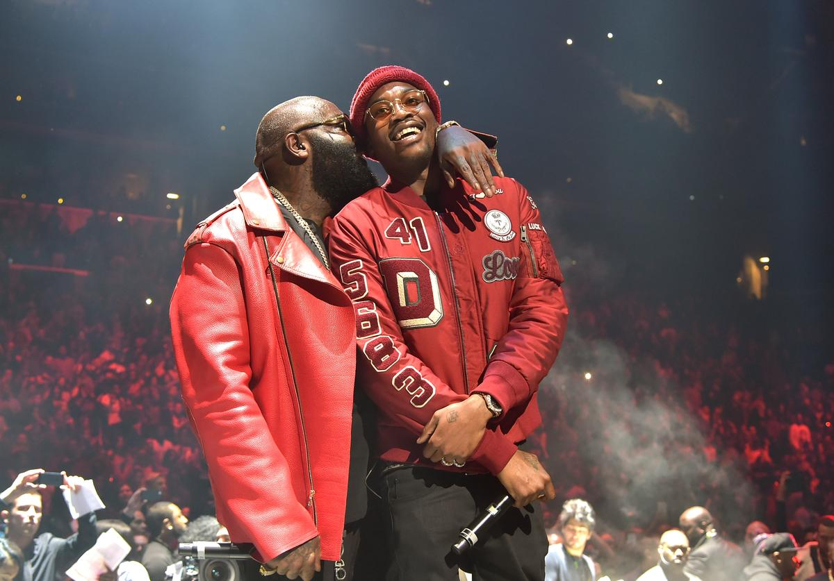 Rappers Rick Ross (L) and Meek Mill perform onstage during TIDAL X: 1020 Amplified by HTC at Barclays Center of Brooklyn on October 20, 2015 in New York City