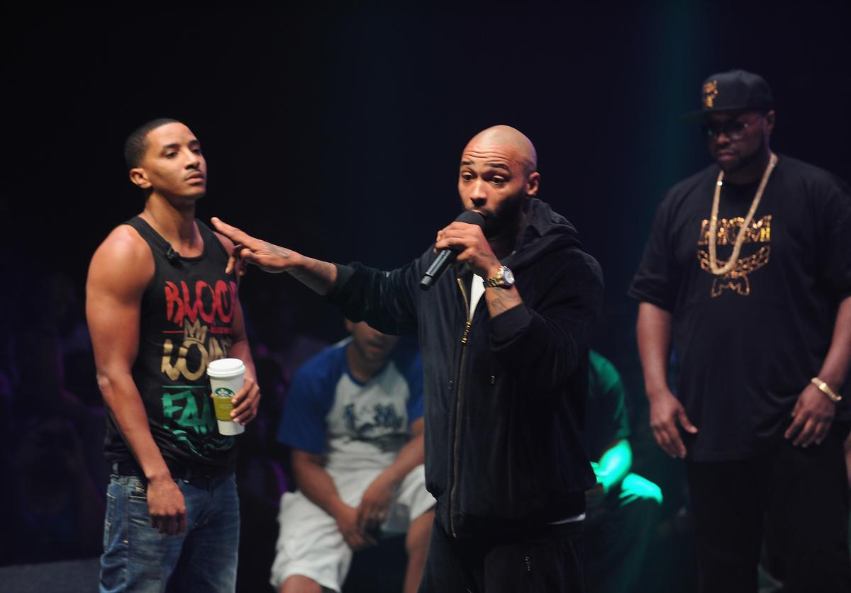 Hollow Da Don and Joe Budden compete at Total Slaughter, hosted by Shady Films and WatchLOUD.com at Hammerstein Ballroom on July 12, 2014 in New York City.