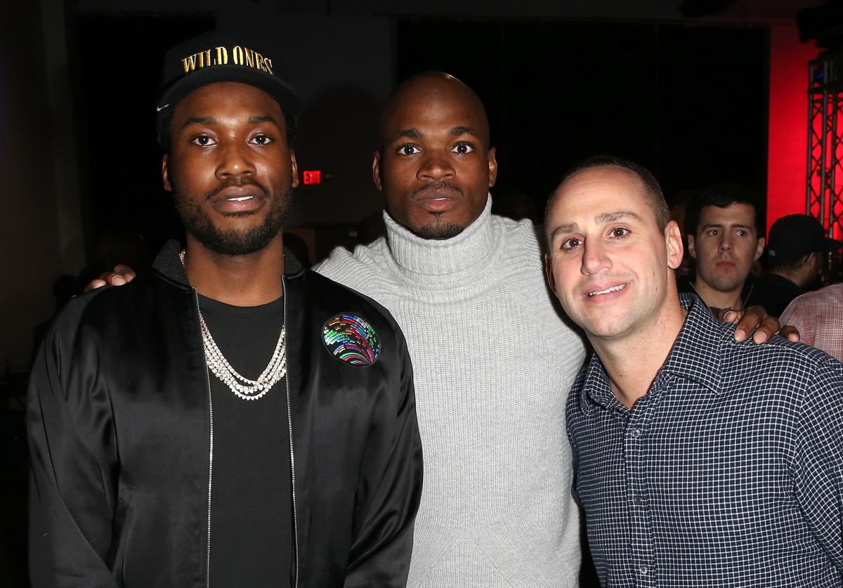Rapper Meek Mill, NFL player Adrian Peterson, and Fanatics Owner Michael Rubin attend the Fanatics Super Bowl Party at Ballroom at Bayou Place on February 4, 2017 in Houston, Texas
