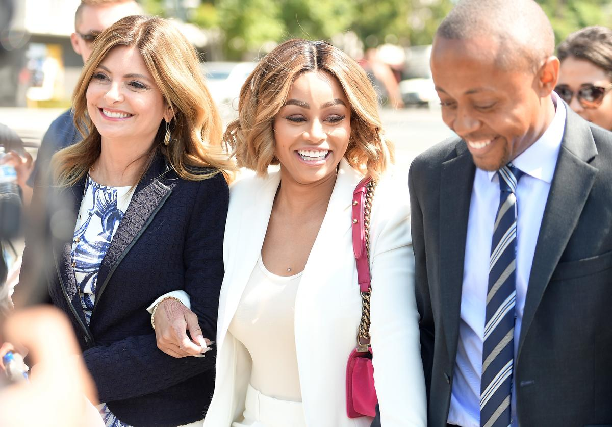 Lisa Bloom (L) and Blac Chyna (C) attend a pre-court hearing press conference at Los Angeles Superior Court on July 10, 2017 in Los Angeles, Californi