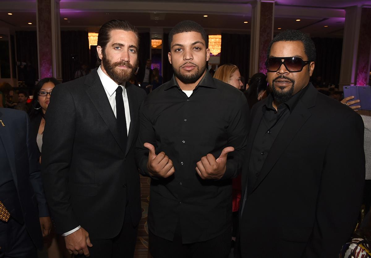 Actor Jake Gyllenhaal, rappers O'Shea Jackson Jr. and Ice Cube attend HFPA Annual Grants Banquet at the Beverly Wilshire Four Seasons Hotel on August 13, 2015 in Beverly Hills, California