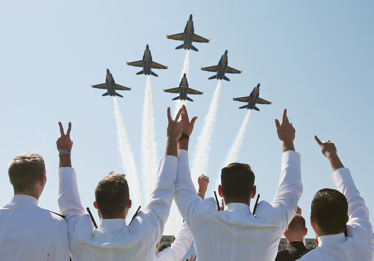 The U.S. Navy Blue Angels fly over graduation ceremonies at the U.S. Naval Academy May 22, 2015 in Annapolis, Maryland. U.S. Vice President Joseph Biden will give the commencement speech to this year's graduating class