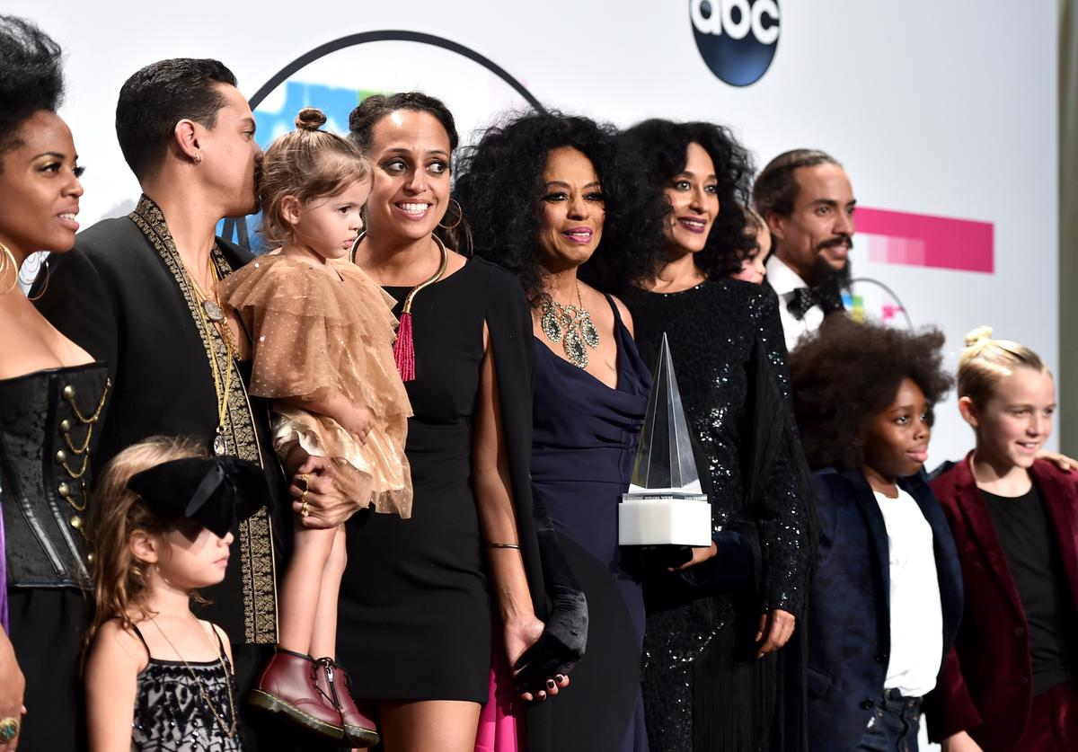 Diana Ross and her family at the amas