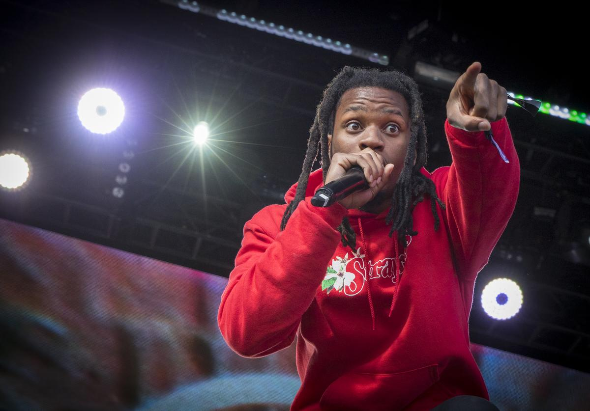 Denzel Curry performs on Day 3 of the Osheaga Music and Art Festival at Parc Jean-Drapeau on August 6, 2017 in Montreal, Canada.