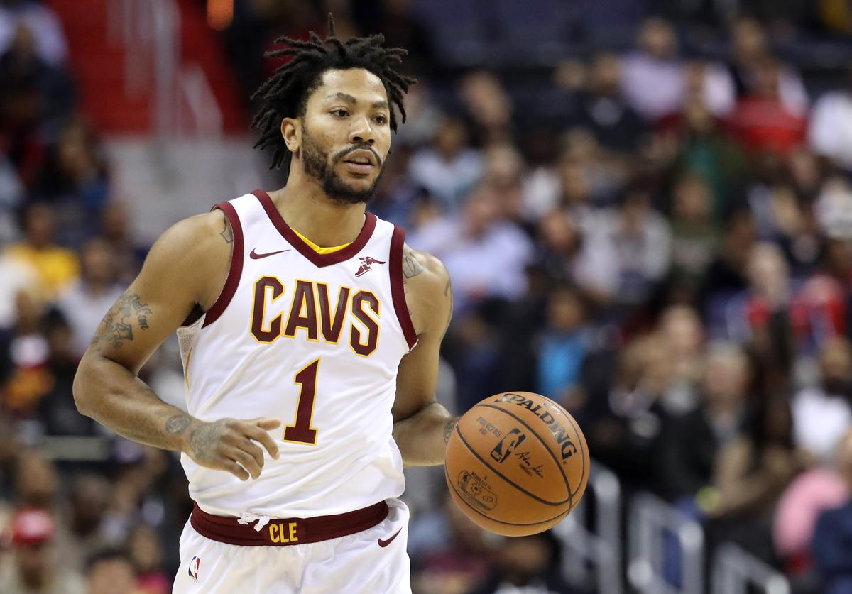 Derrick Rose #1 of the Cleveland Cavaliers dribbles the ball against the Washington Wizards at Capital One Arena on November 3, 2017 in Washington, DC.