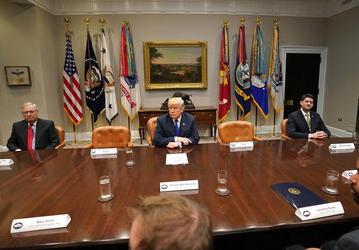 President Donald Trump speaks to the media during a meeting with congressional leadership in the Roosevelt Room at the White House on November 28, 2017. Trump spoke on the recent intercontinental ballistic missile launch by North Korea