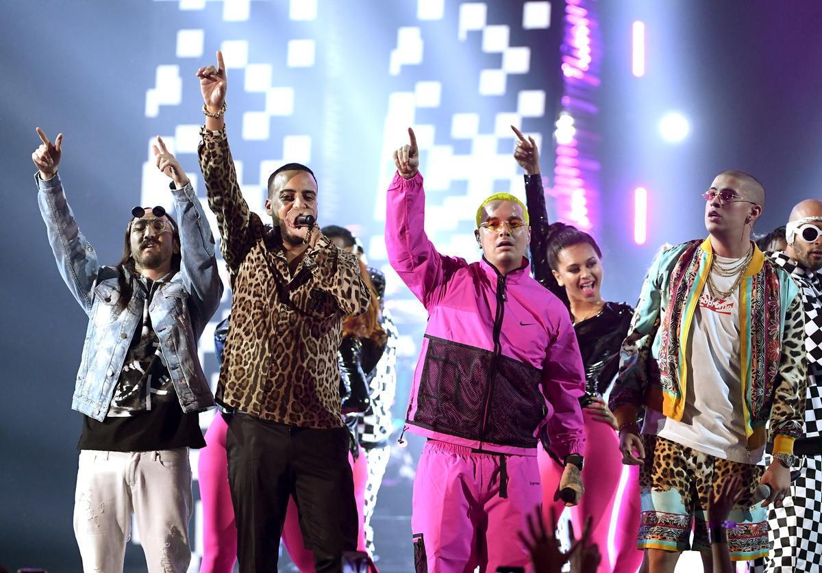 Steve Aoki, French Montana, J Balvin, and Bad Bunny perform onstage at the 18th Annual Latin Grammy Awards at MGM Grand Garden Arena on November 16, 2017 in Las Vegas, Nevada
