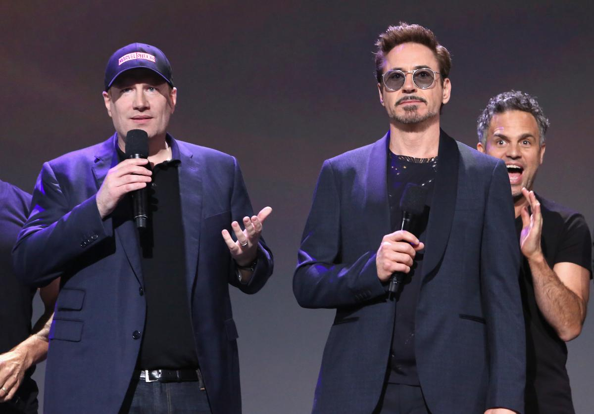 Producer Kevin Feige, actors Robert Downey Jr. and Mark Ruffalo of AVENGERS: INFINITY WAR took part today in the Walt Disney Studios live action presentation at Disney's D23 EXPO 2017 in Anaheim, Calif