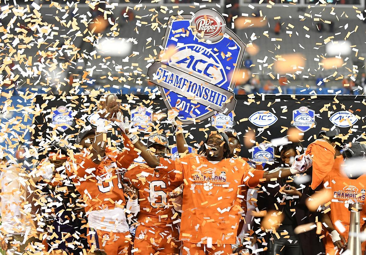 Deon Cain #8 of the Clemson Tigers celebrates after their victory over the Miami Hurricanes in the ACC Football Championship at Bank of America Stadium on December 2, 2017 in Charlotte, North Carolina