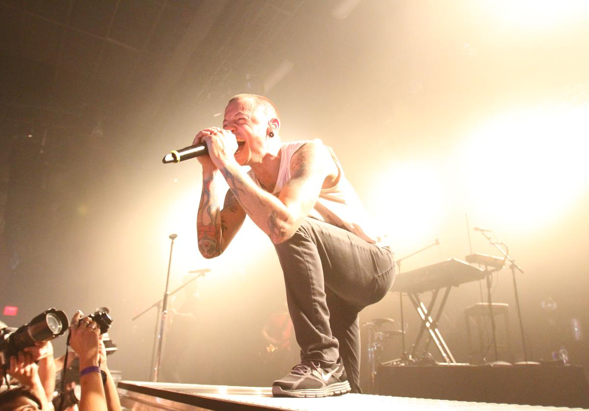 Chester Bennington of Linkin Park performs at the Best Buy Theater on September 14, 2010 in New York City