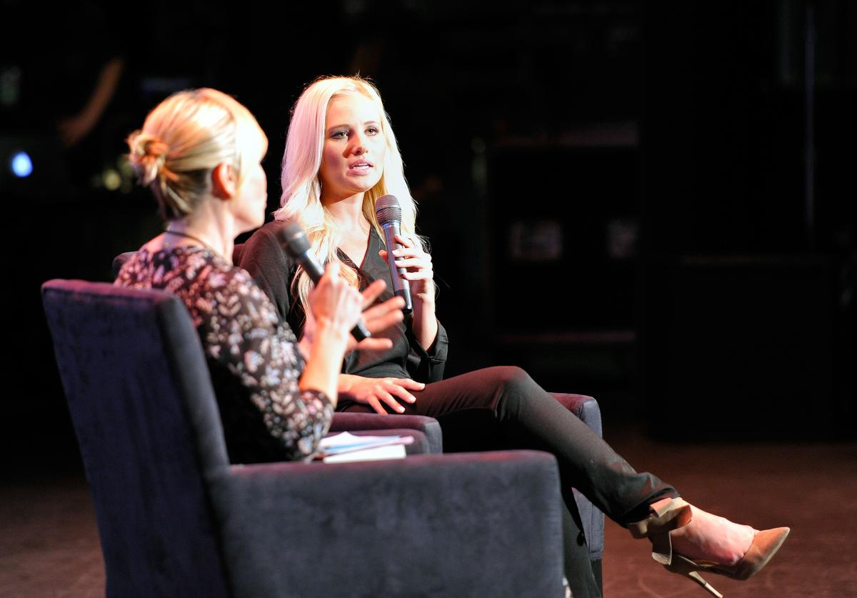 Chelsea Handler (L) and Tomi Lahren at the 'Chelsea Handler in Conversation with Tomi Lahren' at Politicon at Pasadena Convention Center on July 29, 2017 in Pasadena, California
