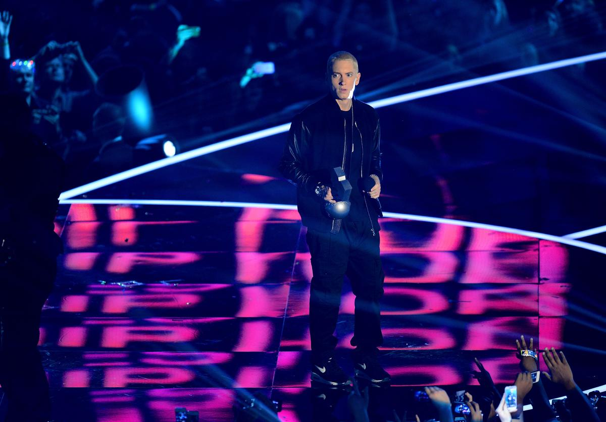 Eminem accepts the Best Hip Hop award onstage during the MTV EMA's 2013 at the Ziggo Dome on November 10, 2013 in Amsterdam, Netherlands