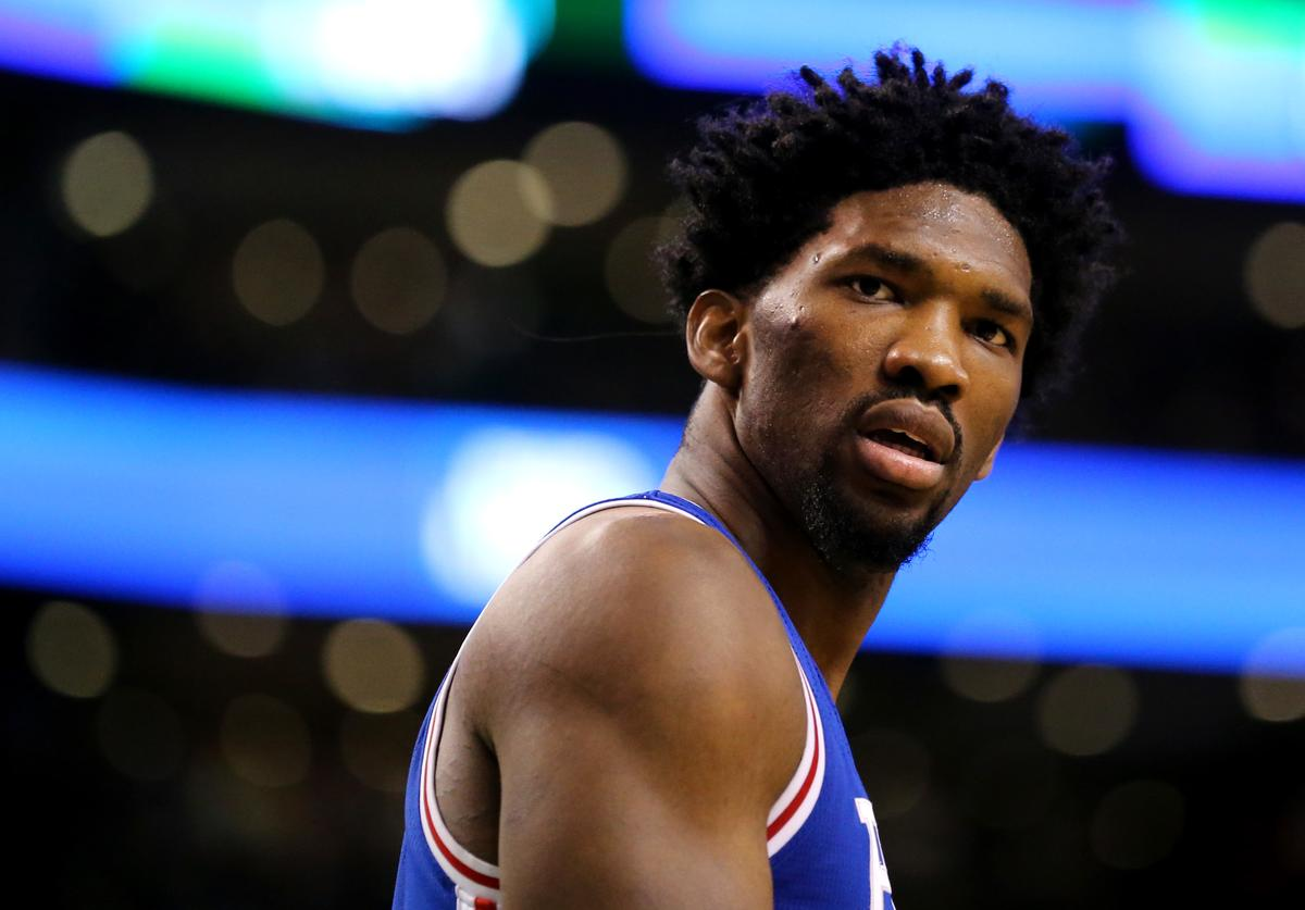 Joel Embiid #21 of the Philadelphia 76ers looks on during the second half against the Boston Celtics at TD Garden on January 6, 2017 in Boston, Massachusetts. The Celtics defeat the 76ers 110-106