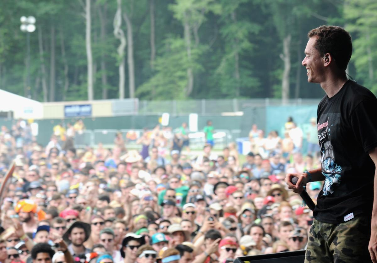 Rapper Logic performs onstage during day 2 of the Firefly Music Festival on June 19, 2015 in Dover, Delaware