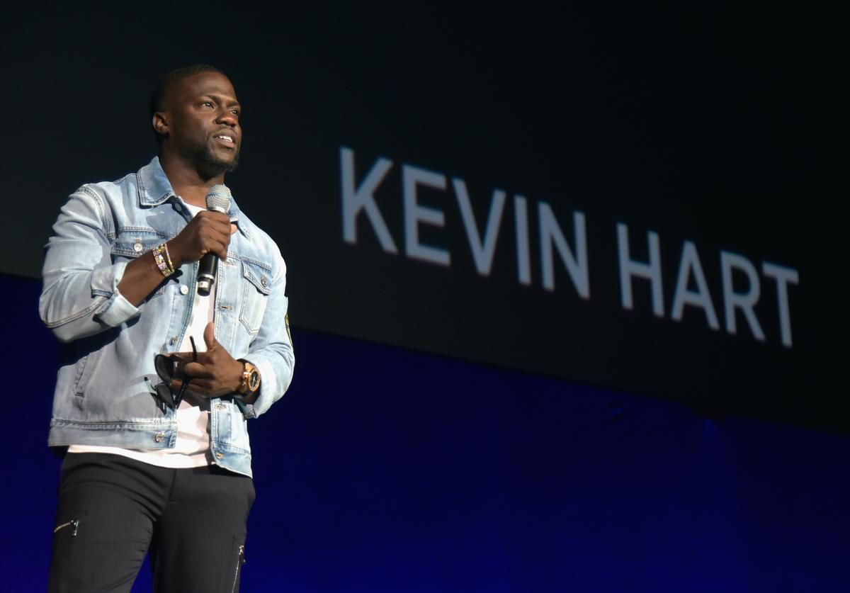 Actor Kevin Hart speaks onstage during CinemaCon 2016 as Universal Pictures Invites You to an Exclusive Product Presentation Highlighting its Summer of 2016 and Beyond at The Colosseum at Caesars Palace during CinemaCon, the official convention of the National Association of Theatre Owners, on April 13, 2016 in Las Vegas, Nevada