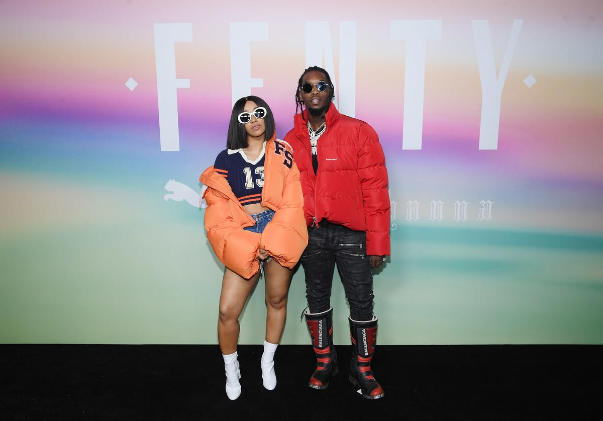 Rappers Cardi B (L) and Offset of Migos attend the FENTY PUMA by Rihanna Spring/Summer 2018 Collection at Park Avenue Armory on September 10, 2017 in New York City.