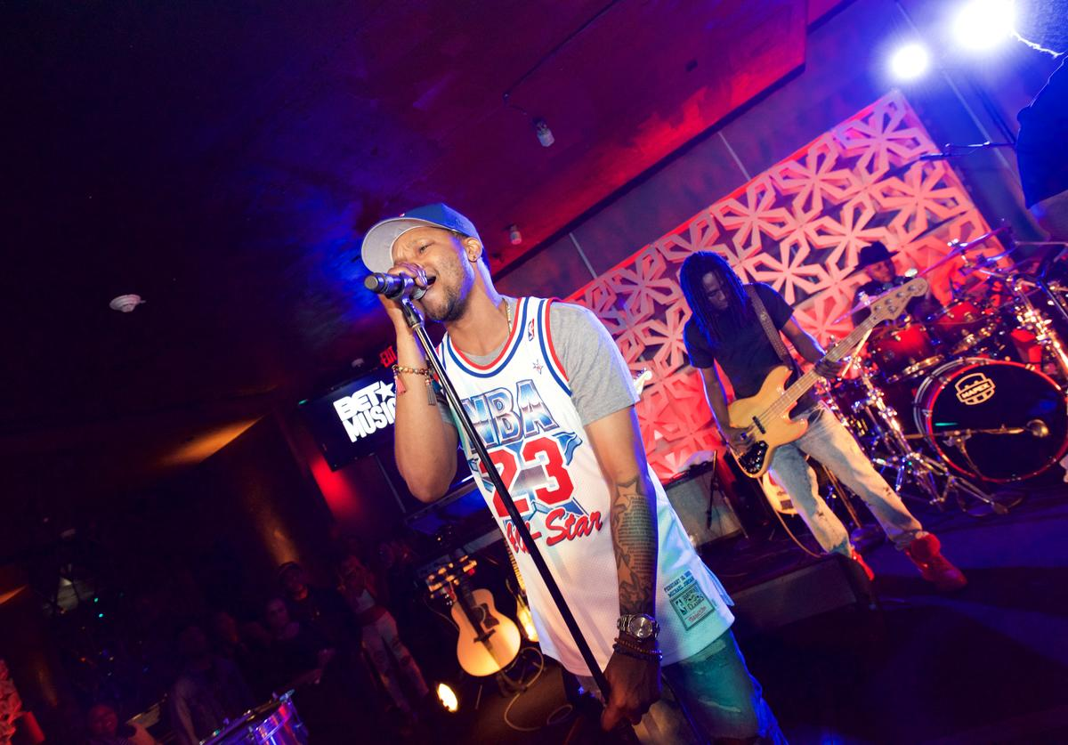 Singer-songwriter BJ The Chicago Kid performs at the BET Music Matters Grammy Showcase at W Hollywood on February 13, 2016 in Hollywood, California