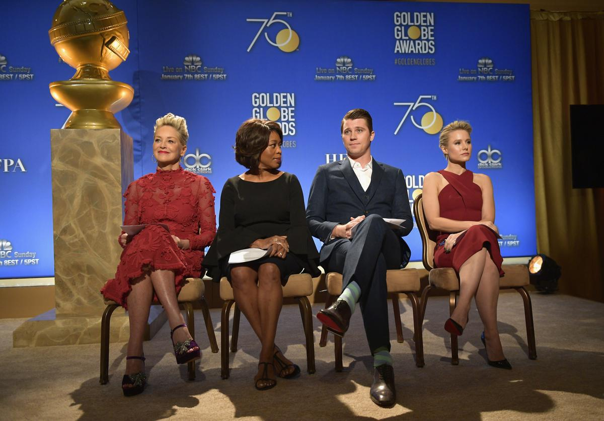 Sharon Stone, Alfre Woodard, Garrett Hedlund, and Kristen Bell attend the 75th Annual Golden Globe Nominations Announcement on December 11, 2017 in Los Angeles, California