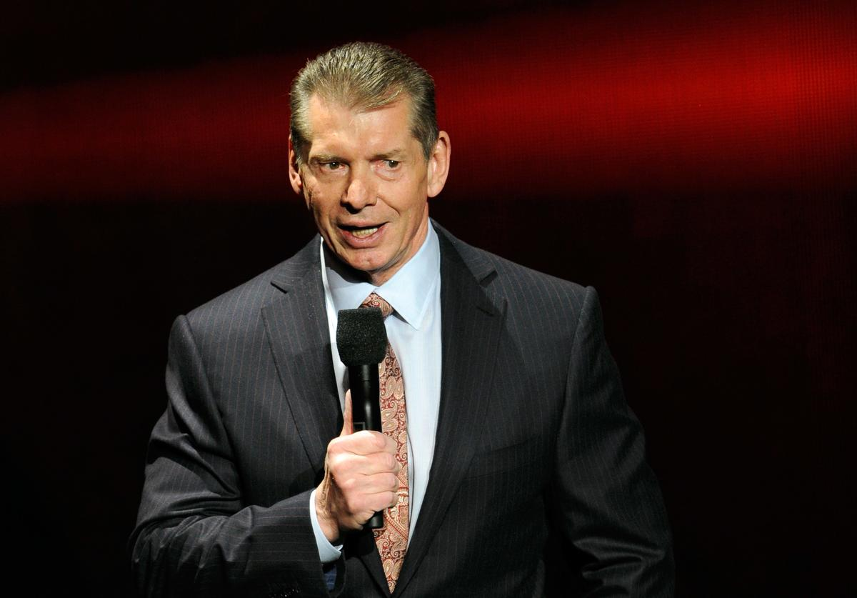 WWE Chairman and CEO Vince McMahon speaks at a news conference announcing the WWE Network at the 2014 International CES at the Encore Theater at Wynn Las Vegas on January 8, 2014 in Las Vegas, Nevada