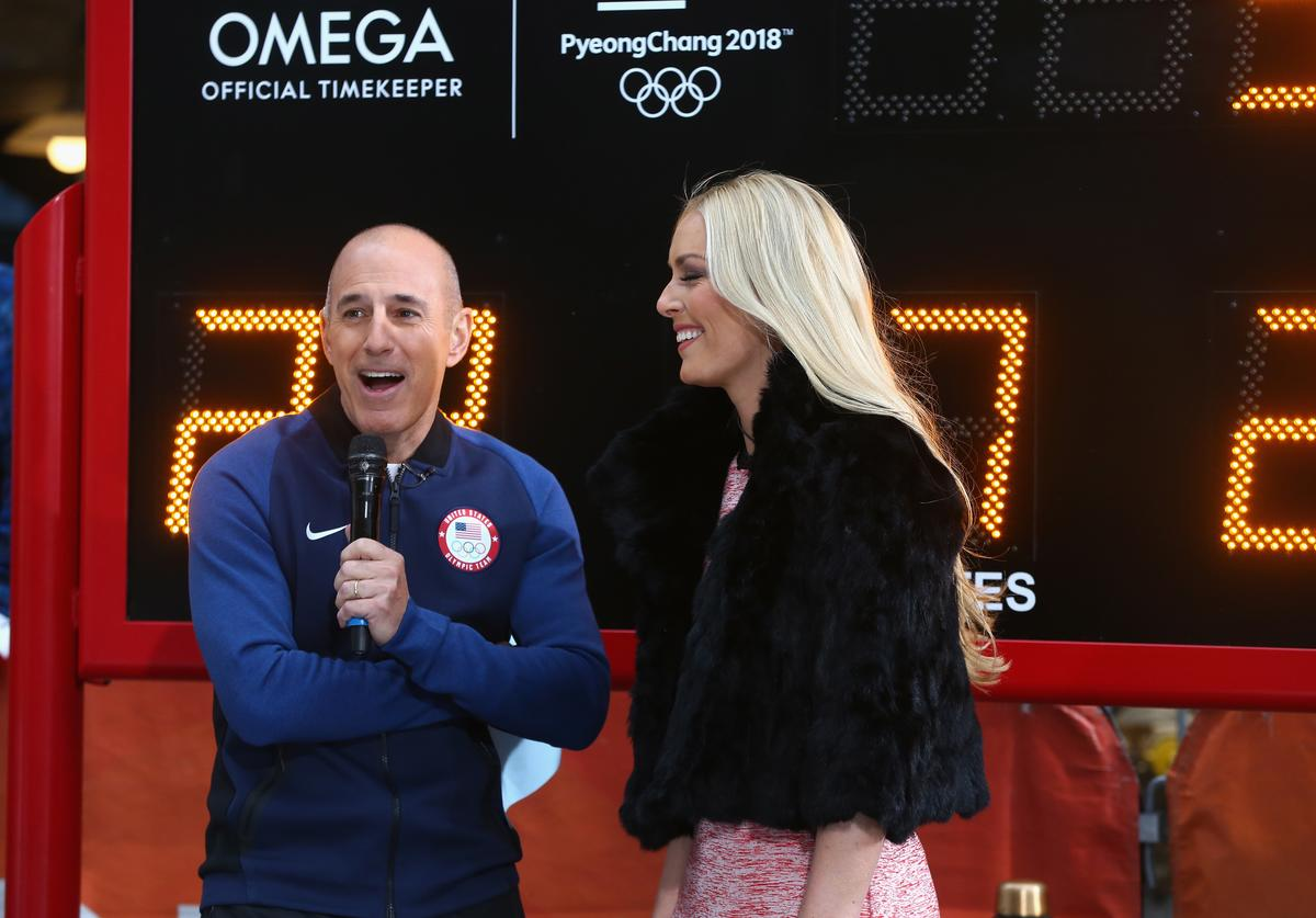 Host Matt Lauer of NBC's Today Show speaks with skier Lindsey Vonn during the 100 Days Out 2018 PyeongChang Winter Olympics Celebration - Team USA in Times Square on November 1, 2017 in New York City