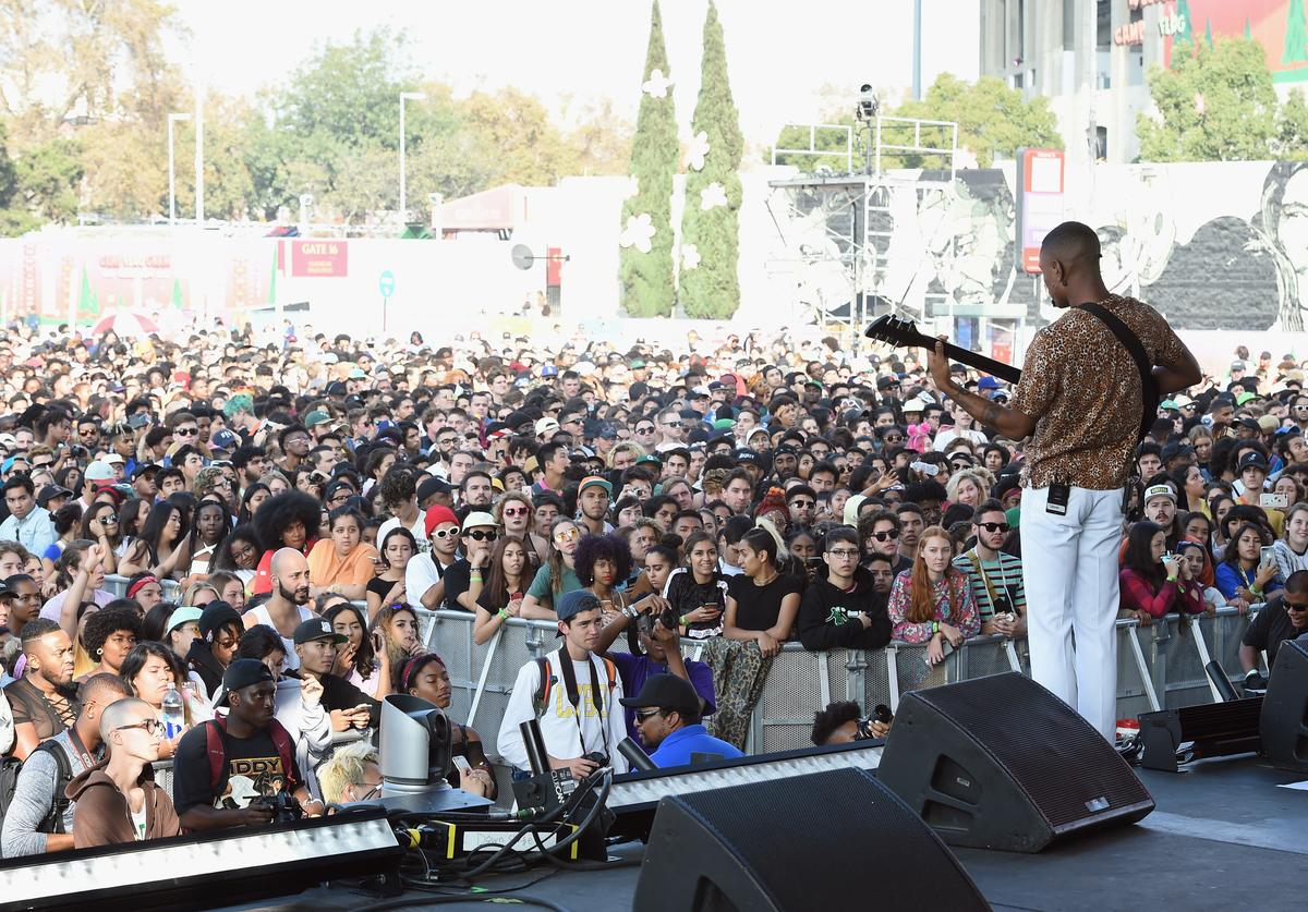 Steve Lacy performs on the Camp Stage during day 2 of Camp Flog Gnaw Carnival 2017 at Exposition Park on October 29, 2017 in Los Angeles, California