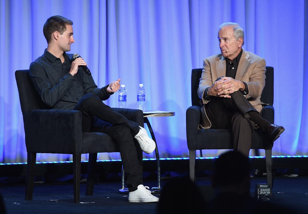 CEO and co-founder of Snapchat Evan Spiegel speaks onstage with The New Yorker staff writer Ken Auletta at the American Magazine Media Conference at Grand Hyatt New York on February 1, 2016 in New York City