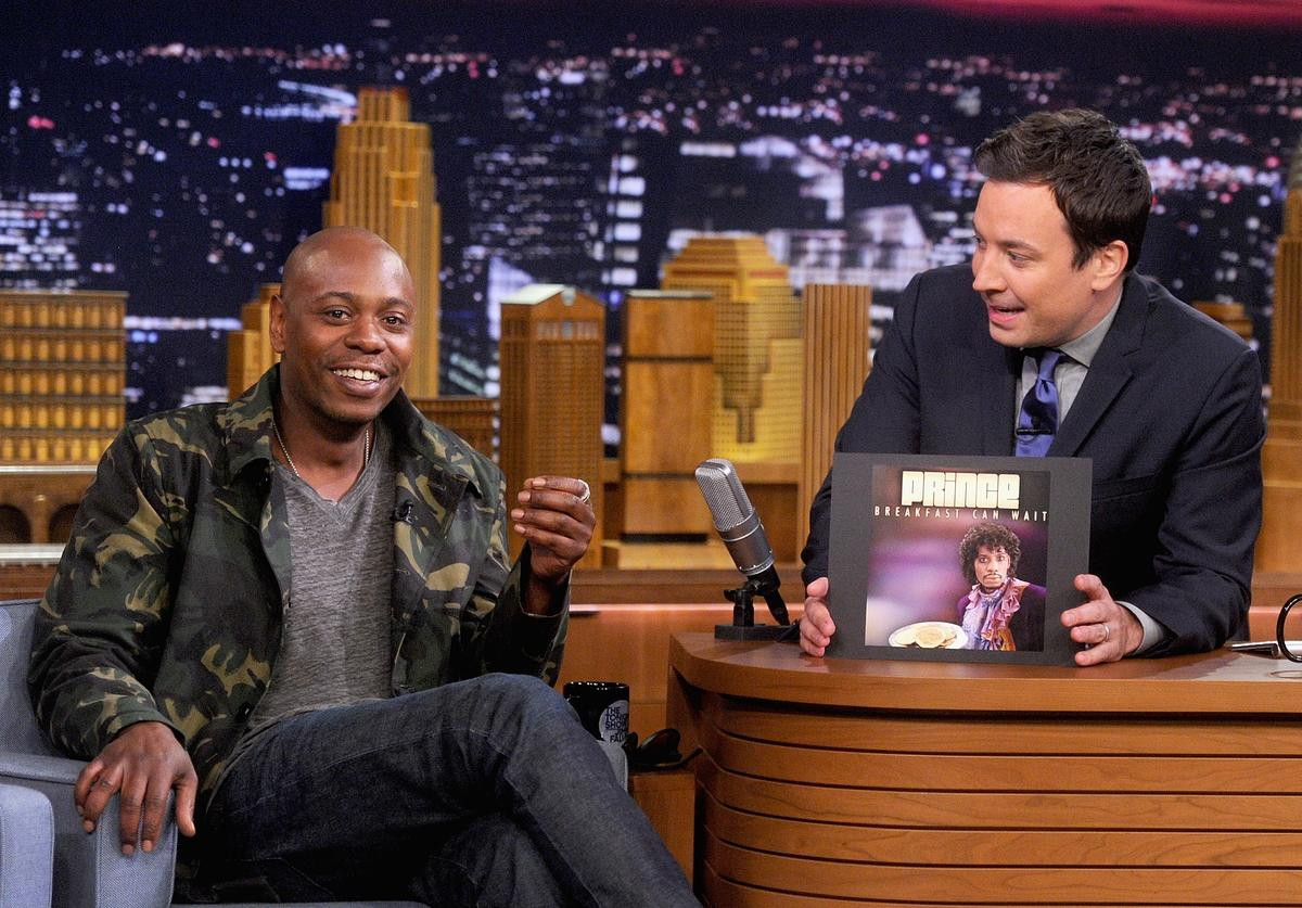 Dave Chappelle during an interview with host Jimmy Fallon on 'The Tonight Show Starring Jimmy Fallon' at Rockefeller Center on June 11, 2014 in New York City