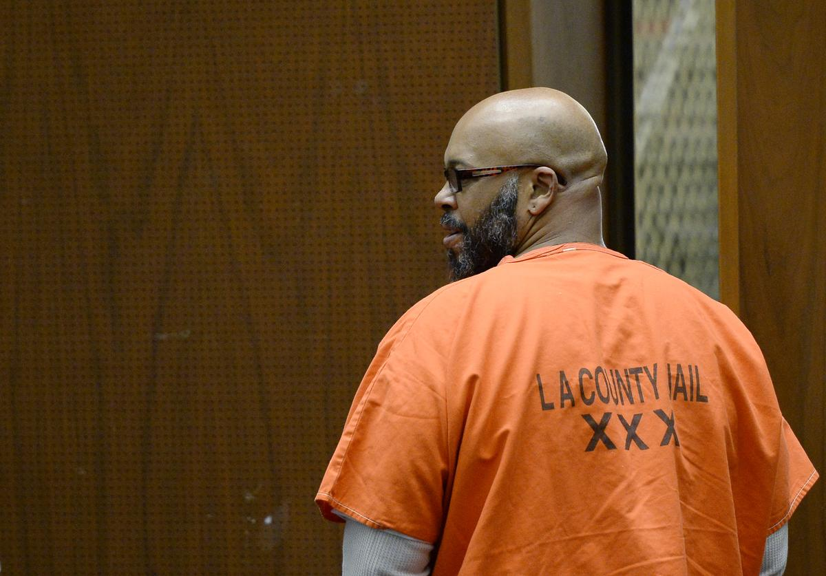 Marion 'Suge' Knight, who is charged with murder, attempted murder and hit-and-run for allegedly running down two men in Compton killing one of them, appears in court for his arraignment at Criminal Courts Building April 30, 2015 in Los Angeles, California. Knight has been ordered to stand trial and is being re-arraigned on murder charges after he was involved in an argument with two men in a Compton restaurant parking lot and struck them with his vehicle in January