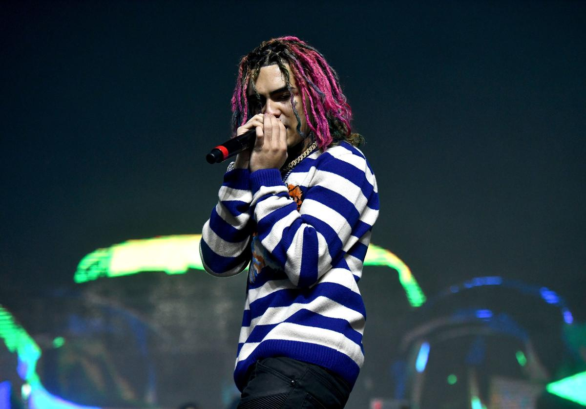 Rapper Lil Pump performs onstage during day two of the Rolling Loud Festival at NOS Events Center on December 17, 2017 in San Bernardino, California