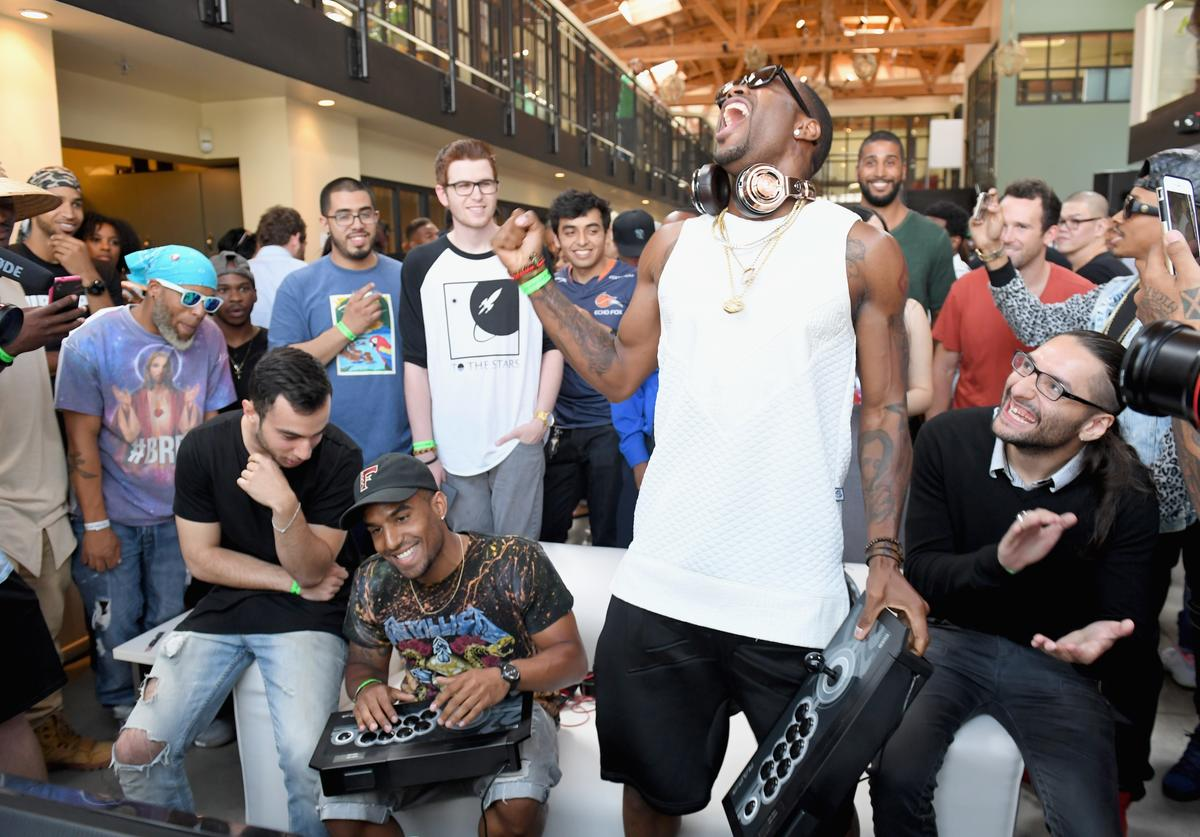 Professional gamer Chris Tatarian, recording artists Futuristic, Safaree Samuels and professional gamer Christopher Gonzales attend Next Level Presented By AMP Energy, A Hip Hop Gaming Tournament at Rostrum Records on June 23, 2016 in Los Angeles, California