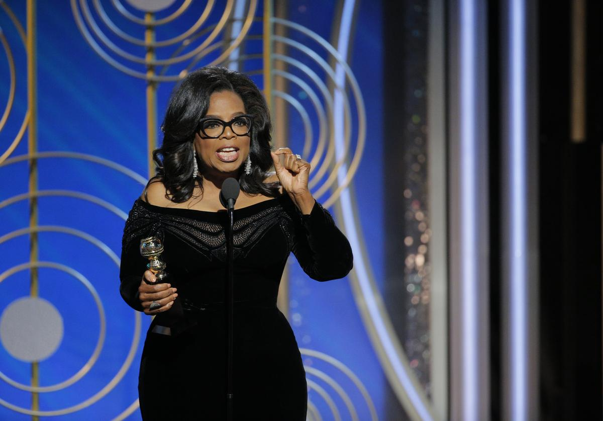 In this handout photo provided by NBCUniversal, Oprah Winfrey accepts the 2018 Cecil B. DeMille Award speaks onstage during the 75th Annual Golden Globe Awards at The Beverly Hilton Hotel on January 7, 2018 in Beverly Hills, California
