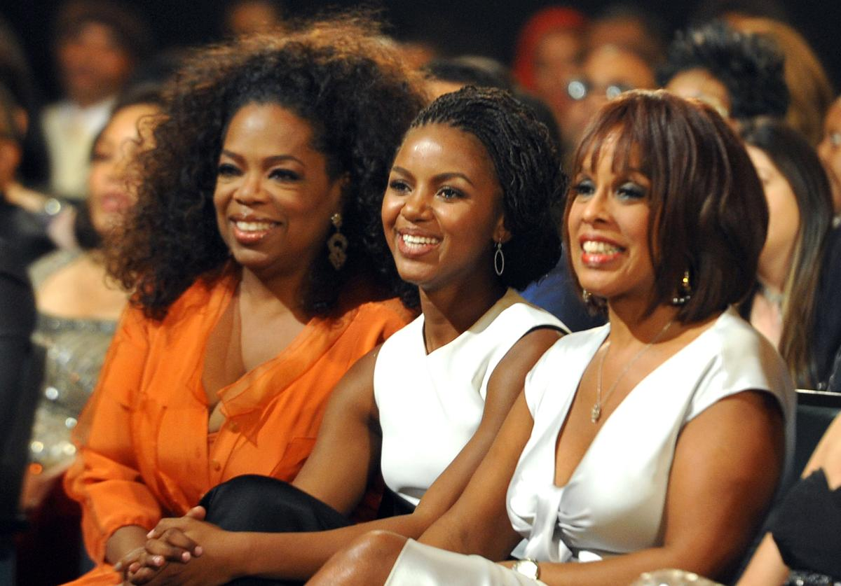 Oprah Winfrey, guest and TV personality Gayle King attend the 45th NAACP Image Awards presented by TV One at Pasadena Civic Auditorium on February 22, 2014 in Pasadena, California