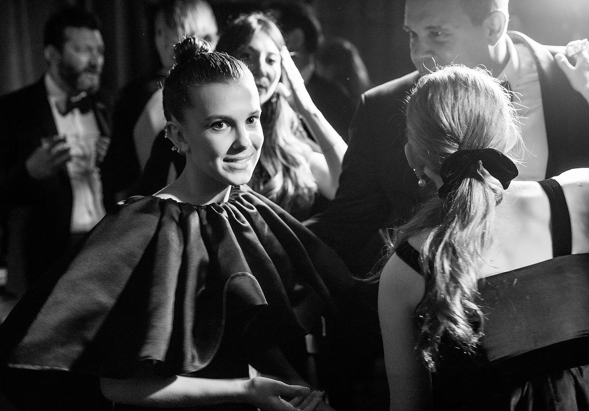 In this handout photo provided by Netflix, (Editors Note: Image has been converted to black and white) Millie Bobby Brown attends the Netflix Golden Globes after party at Waldorf Astoria Beverly Hills on January 7, 2018 in Beverly Hills, California